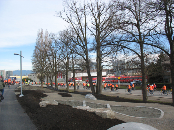Near the Oval, it became clear that you could leave the road and ride up onto the new bike trails running next to the Oval and the UBC Aquatic Centre. This photo is taken from the path, looking at the road alongside.