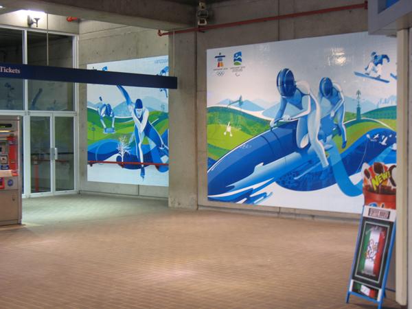 Olympic ads at Stadium-Chinatown Station.