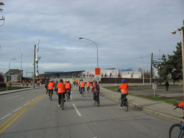We retraced our route as we headed back -- here's a shot of the new separated bike path in the distance.