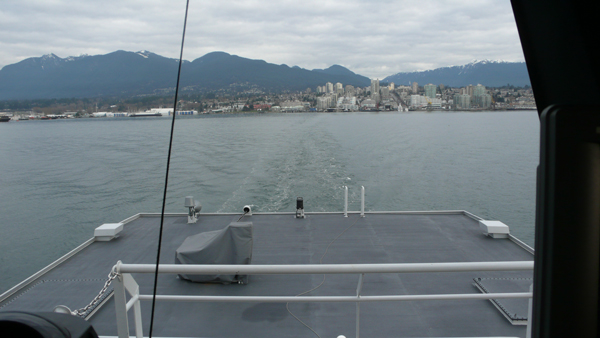 The tiny wake of the new SeaBus.