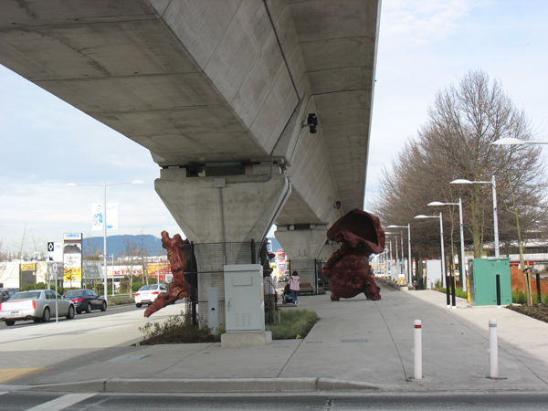 Oh, and after the bike ride I walked over near the Canada Line stations to get home. This art piece is under the guideway south of Lansdowne Station!