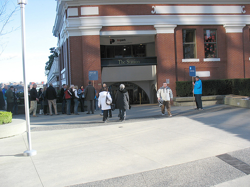 The side entrance to Waterfront Station where Canada Line riders line up.