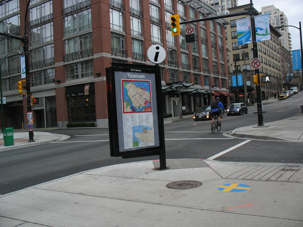 Informational signage on the street outside Yaletown-Roundhouse.