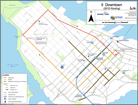 New Olympic reroutes for the 5 and 6 routes in downtown Vancouver. Click to download a PDF version of this map.