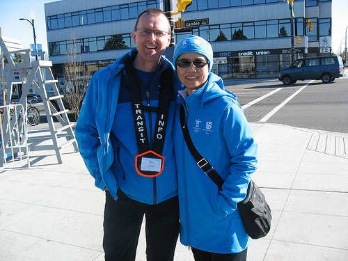 Brian, one of our transit host coordinators, with Carol Lee, TransLink's corporate secretary and a transit host for the Games. They're at King Edward Station on Sunday Feb 21!