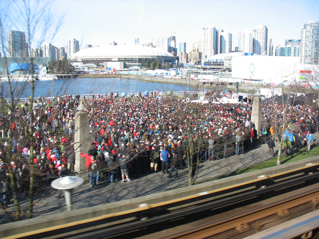 The crowds outside for the Colbert Report taping near Science World.