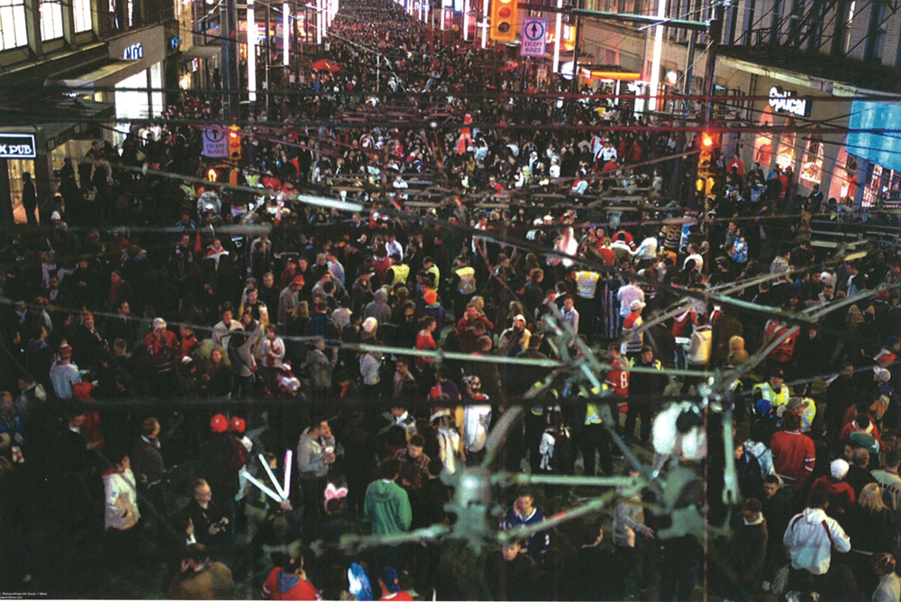 Crowds from yesterday on Granville Street, looking south from Robson. Photo from the Transit Police. Click for a larger version.