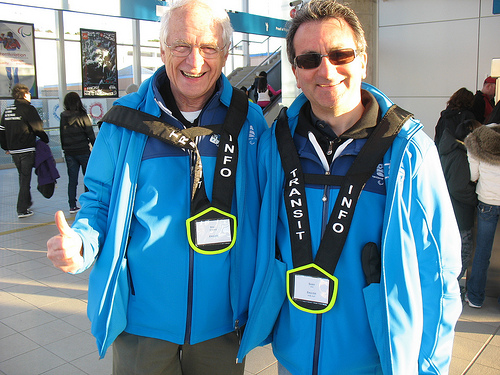 Dale Parker, chair of TransLink's board, with Sany, another transit host from TransLink.