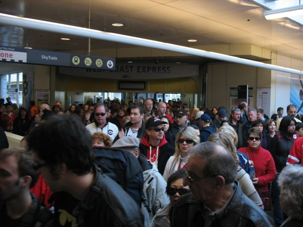 West Coast Express unloaded about 2,000 people into Waterfront Station from its 12:30 p.m. train on Friday, February 19.