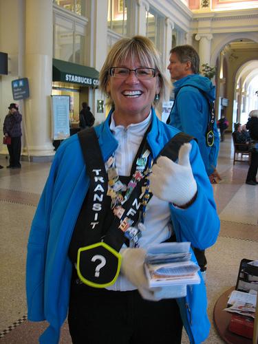 JoAnn, valiantly working as a transit host despite a broken arm!