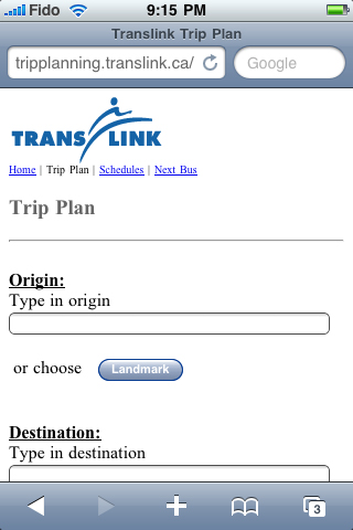 The mobile trip planner displayed on an iPhone. Click for a larger view!