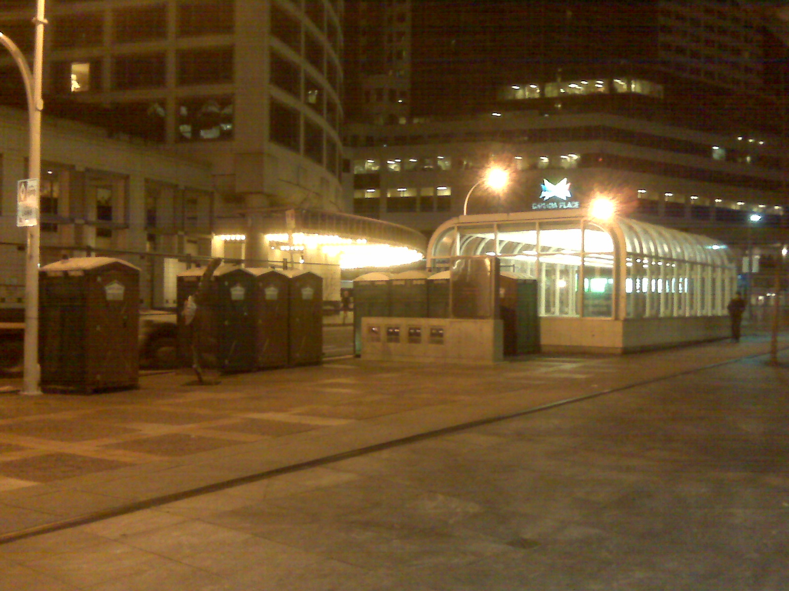 Port-o-potties beside the Howe Street entrance to Waterfront Station.