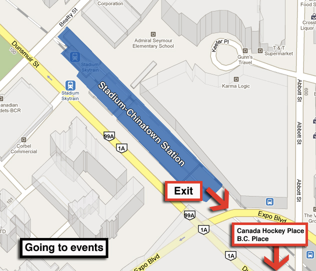 Where to exit for an event at B.C. Place or Canada Hockey Place.