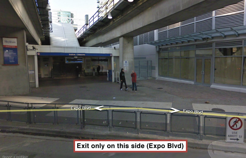 The Expo Boulevard exit of Stadium-Chinatown Station. Click for a larger version!