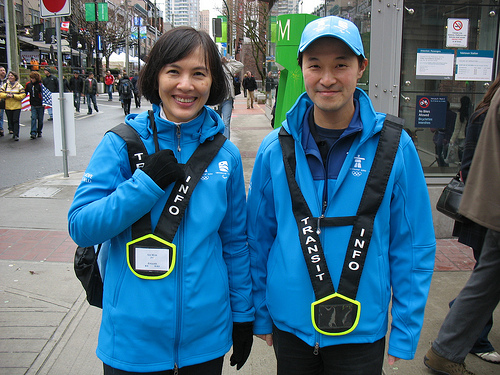 TransLink transit hosts Sze Wan and Raymond, in front of Yaletown-Roundhouse Station.