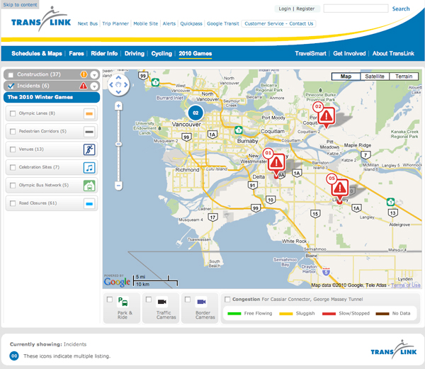 A screenshot of the <a href=http://www.translink.ca/en/2010-Games/Traffic-and-Transit-Alerts-Map.aspx>Traffic and Transit Alerts map</a>.