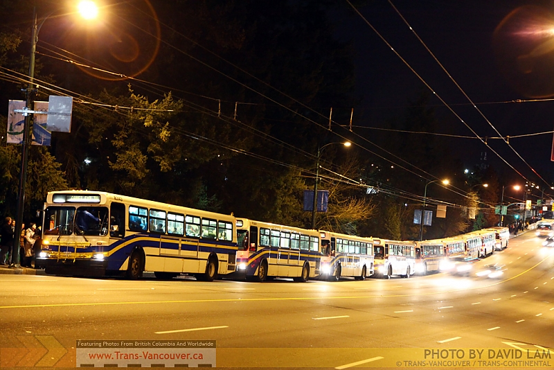 Buses outside the PNE after their event. Photo by <a href=http://www.trans-continental.ca/vancouver/specialcollections/D40lastdays/IMG_2224.jpg.php>David Lam</a>.