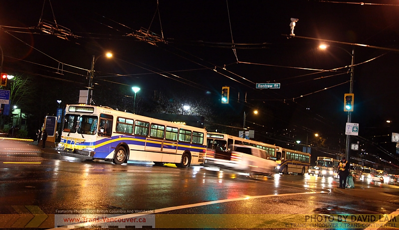 Bus convoy waiting to make a left turn from Hastings onto Renfrew. Photo by <a href=http://www.trans-continental.ca/vancouver/specialcollections/D40lastdays/IMG_3084.jpg.php>David Lam</a>.