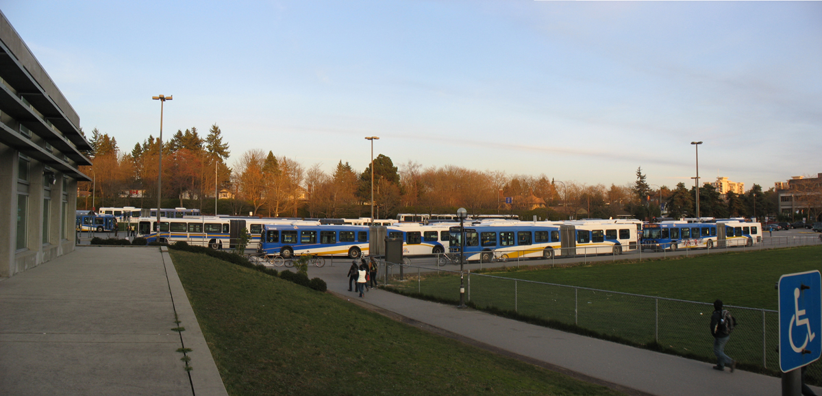 Look at all those Games buses at UBC! Taken Monday, Feb 22  -- click for a larger version.