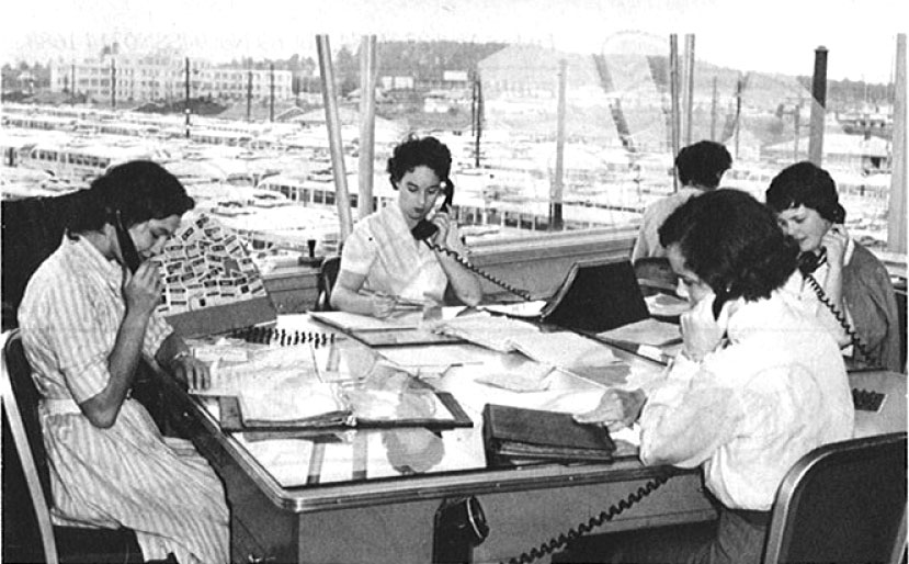 The B.C. Electric transit call centre in 1959, out at Oakridge Transit Centre.