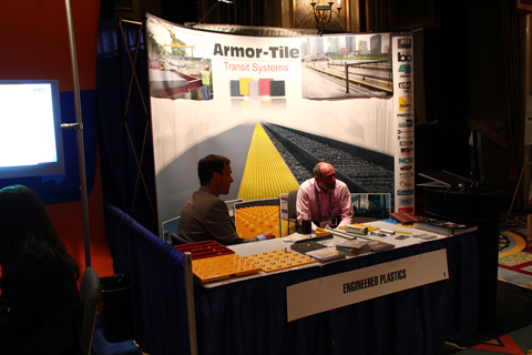 The Armor Tile booth. They make rumble strips for the edge of station platforms!