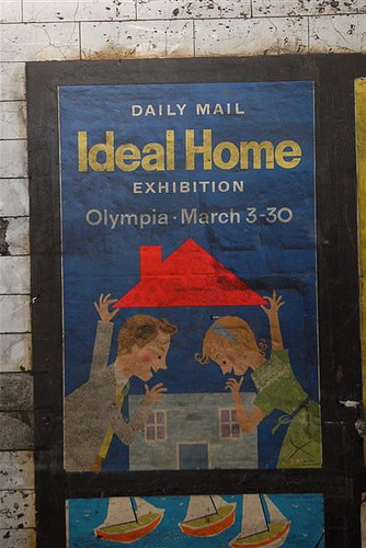A 1950s ad discovered in a disused area of the Notting Hill Tube station in London, UK. Photo by Mikey Ashworth for the London Underground.