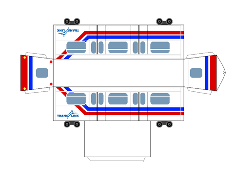 A paper craft model of the Mark I SkyTrain car. Created by <a href=>Swift</a>!