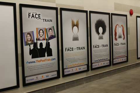 Ads for the Pixel Train campaign at Vancouver City Centre Station.