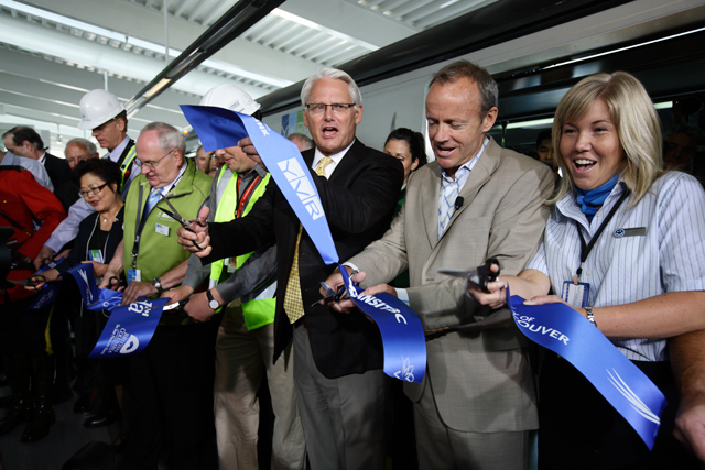 Premier Gordon Campbell, Minister Stockwell Day, and many other dignitaries cut the ribbon on the Canada Line at YVR-Airport Station, August 17, 2009.