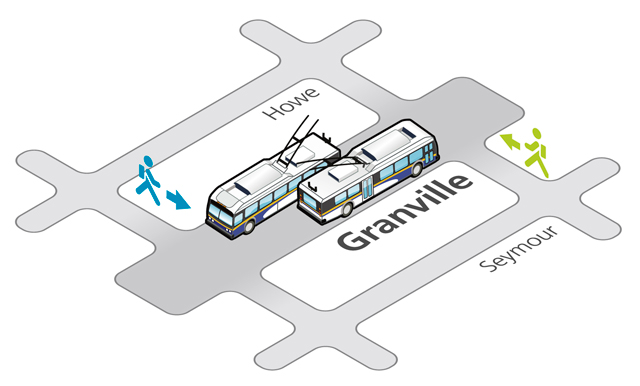 Trolley buses are back on Granville Street starting Tue Sept 7