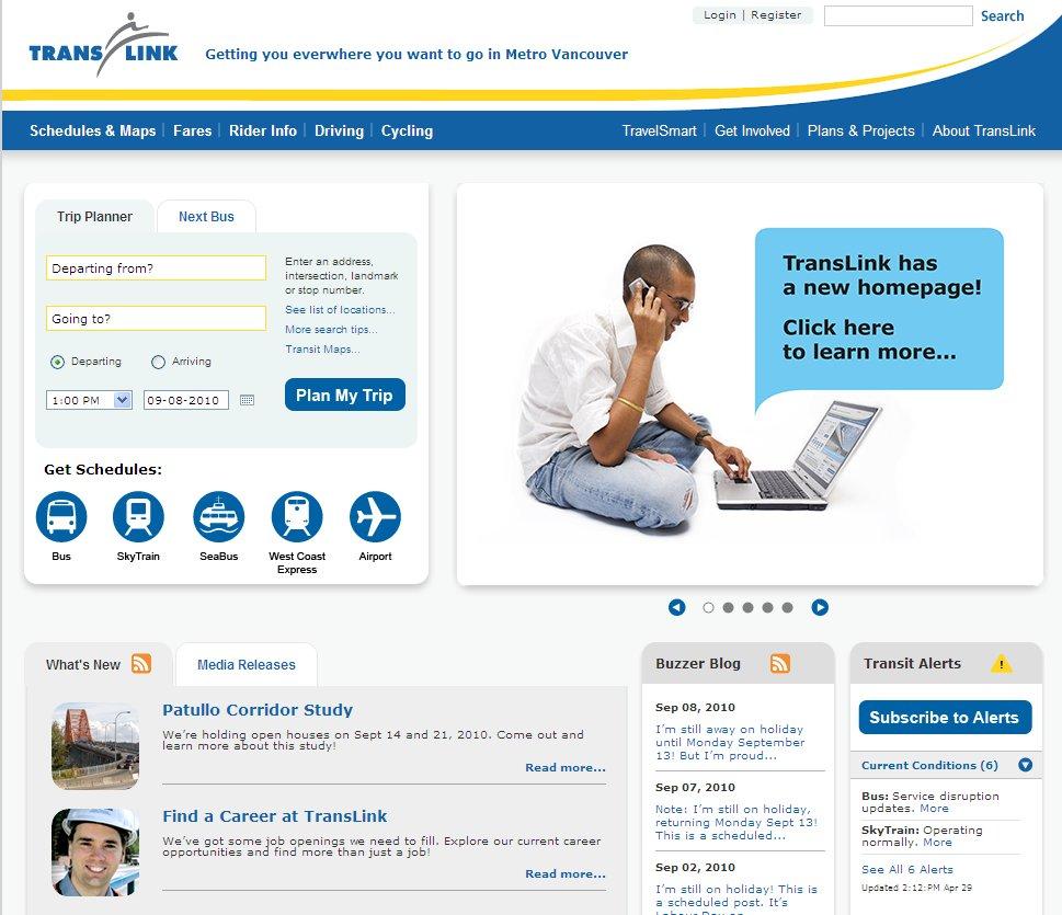 TransLink's new website homepage
