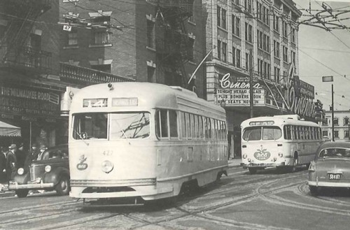 The 14 Hastings streetcar: looking north on Granville from Robson, 1950. Photo by Vic Sharman.