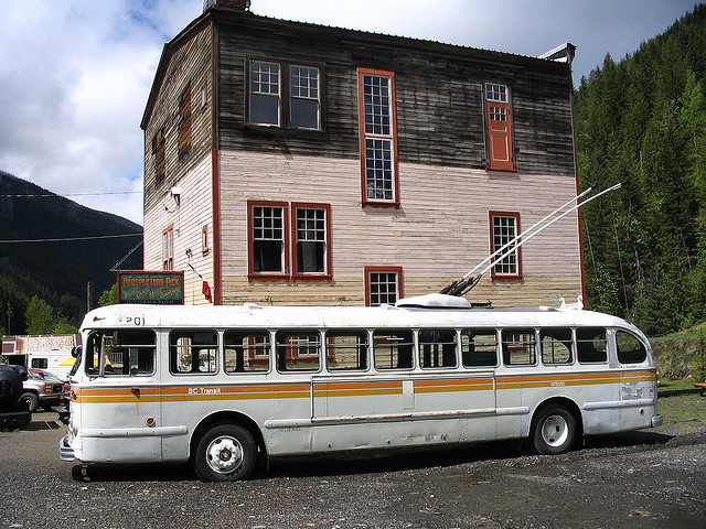An old BC Transit Brill trolley bus in Sandon, BC