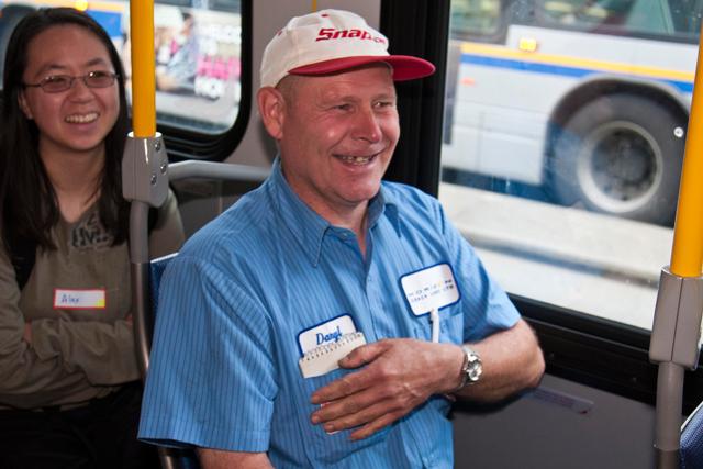 Transit enthusiast enjoying the bus boarding game