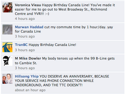 Comments on TransLink's Facebook page about Canada Line turning 2