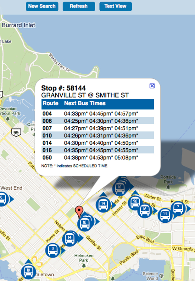 Map view of Next Bus