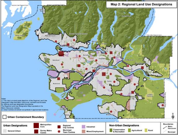 Metro Vancouver Regional Land Use Designations map