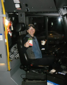 Hot chocolate for a bus operator.