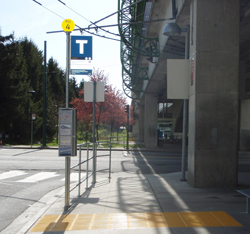 New tactile strip and new bus stop sign installed!