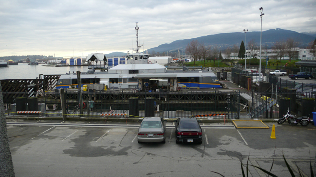From 2010: the Burrard Pacific Breeze, sitting in one of the maintenance docks in Lonsdale Quay.
