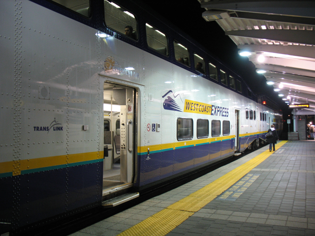 From 2010: the 6 a.m. West Coast Express train parked at Mission City Station.