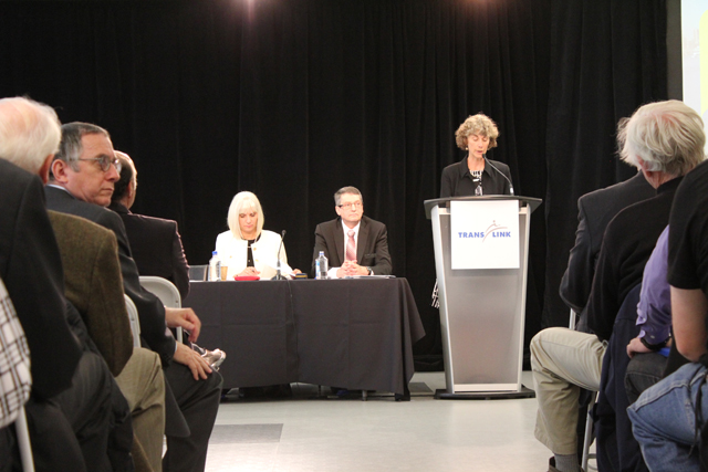 TransLink board chair Nancy Olewiler, Chief Financial Officer Cathy McLay and  CEO Ian Jarvis at TransLink's 2012 AGM