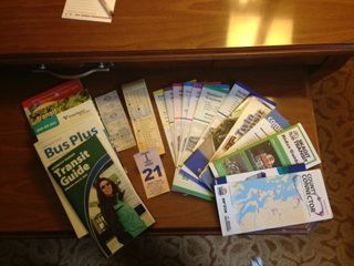 Here's a photo of the schedules and tickets I've amassed on this trip. My bag definitely got progressively heavier as I got closer to Portland. - William