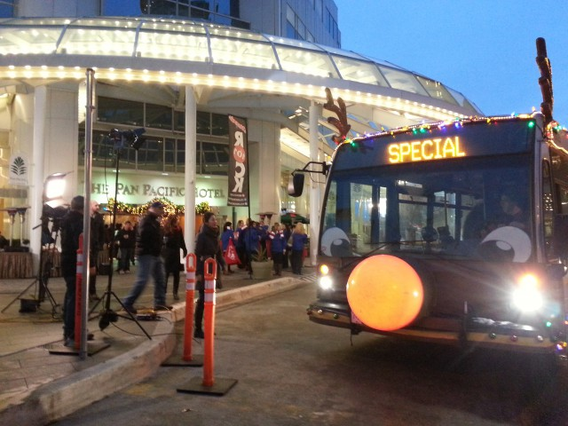 TransLink Reindeer Bus at Pan Pacific