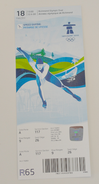Paul C's ticket to Canada's gold medal winning event!