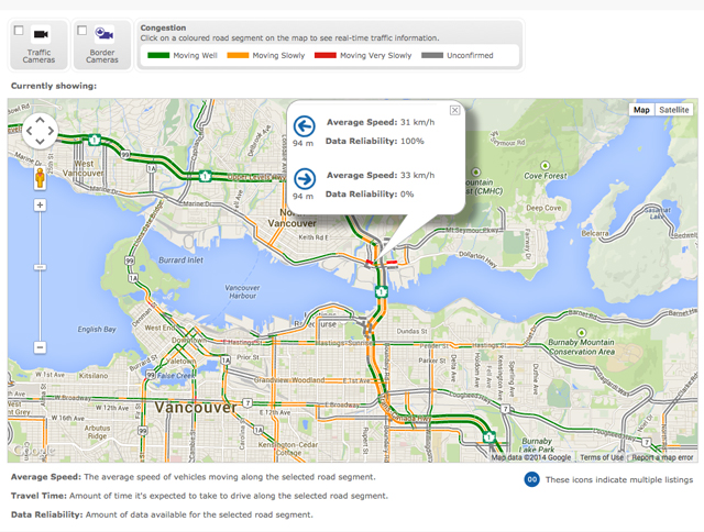 Our Real-Time Traffic Map which uses our newly released Regional Traffic Data System (RTDS)