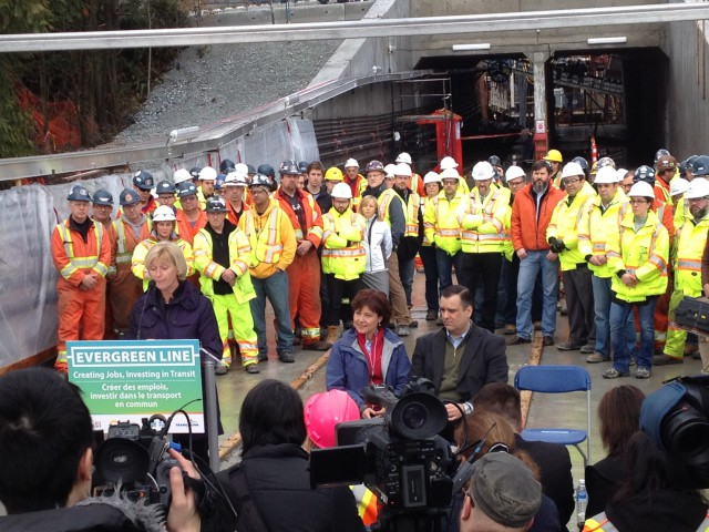 TransLink Board Chair Marcella Szel speaking at the press conference.