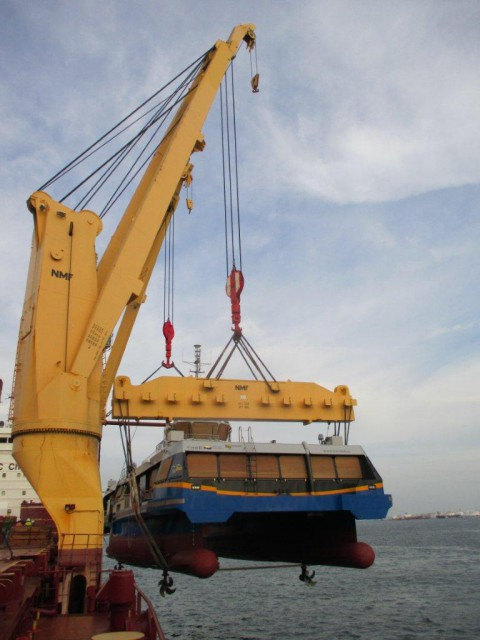 First, the vessel is hoisted out of the water