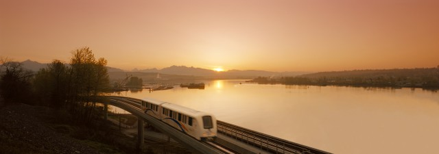 A sunrise over the SkyTrain in New Westminster.
