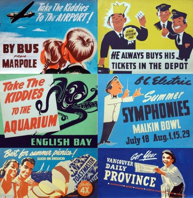 BC Electric trolley/bus ads by Peter Ewart (via Tumblr)